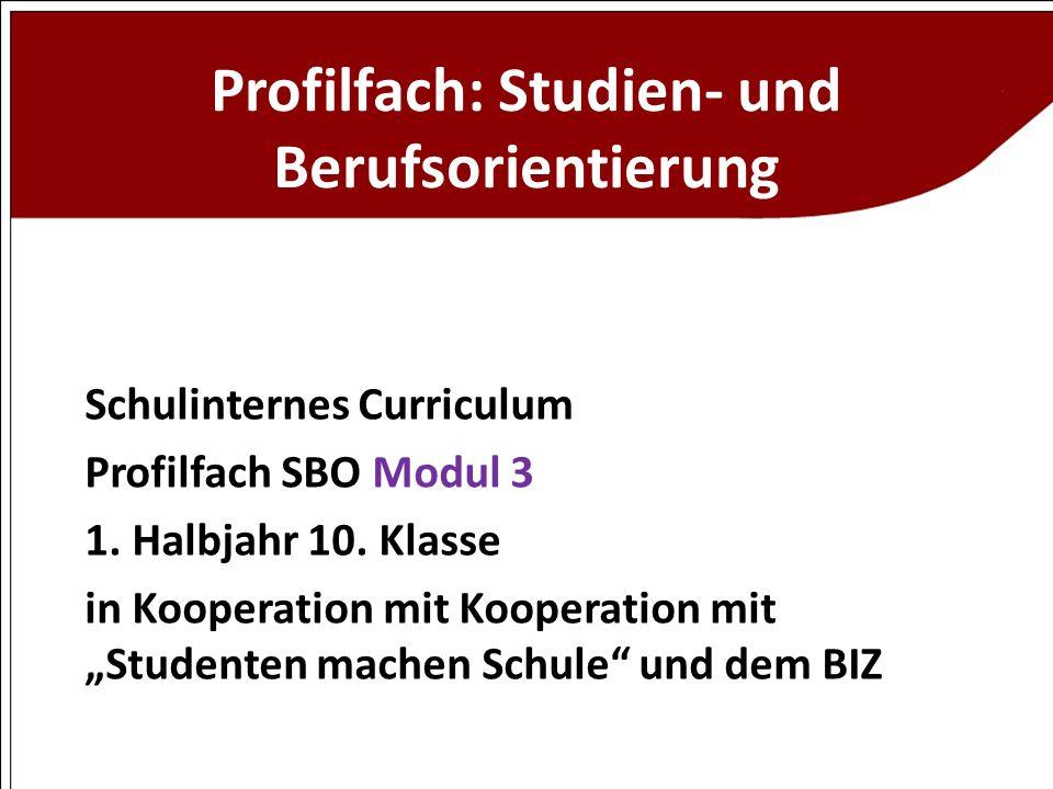 Profilfach: Studien- und Berufsorientierung Schulinternes Curriculum Profilfach SBO Modul 3 1. Halbjahr 10. Klasse in Kooperation mit Kooperation mit