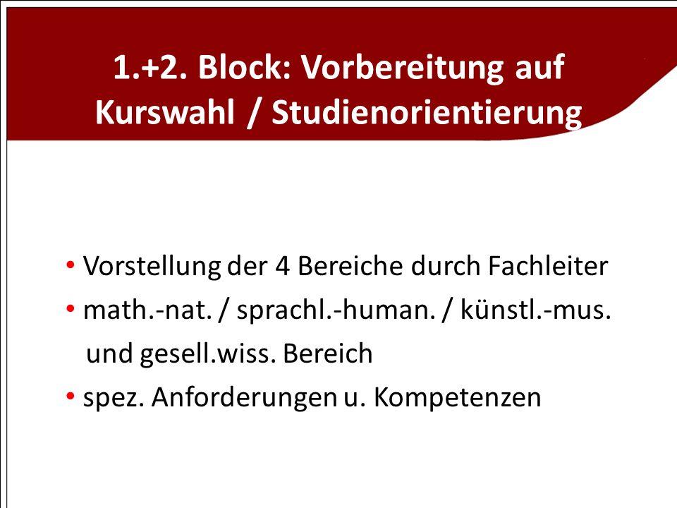 1.+2. Block: Vorbereitung auf Kurswahl / Studienorientierung Vorstellung der 4 Bereiche durch Fachleiter math.-nat. / sprachl.-human. / künstl.-mus. u