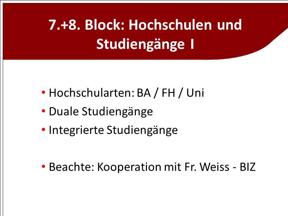 7.+8. Block: Hochschulen und Studiengänge I Hochschularten: BA / FH / Uni Duale Studiengänge Integrierte Studiengänge Beachte: Kooperation mit Fr. Wei