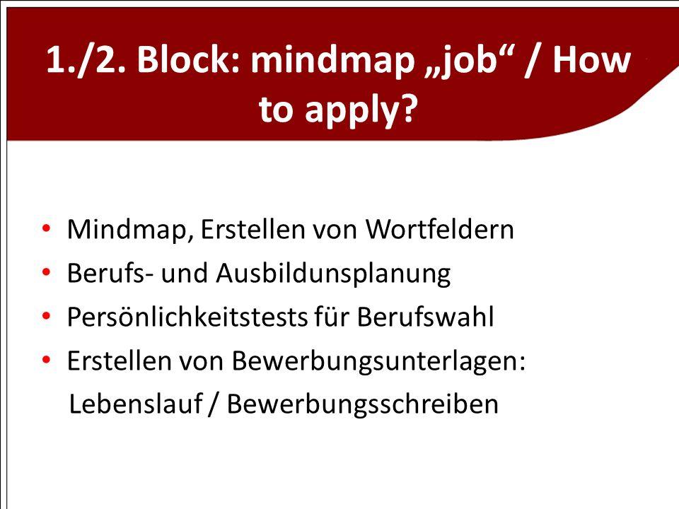 1./2. Block: mindmap job / How to apply? Mindmap, Erstellen von Wortfeldern Berufs- und Ausbildunsplanung Persönlichkeitstests für Berufswahl Erstelle
