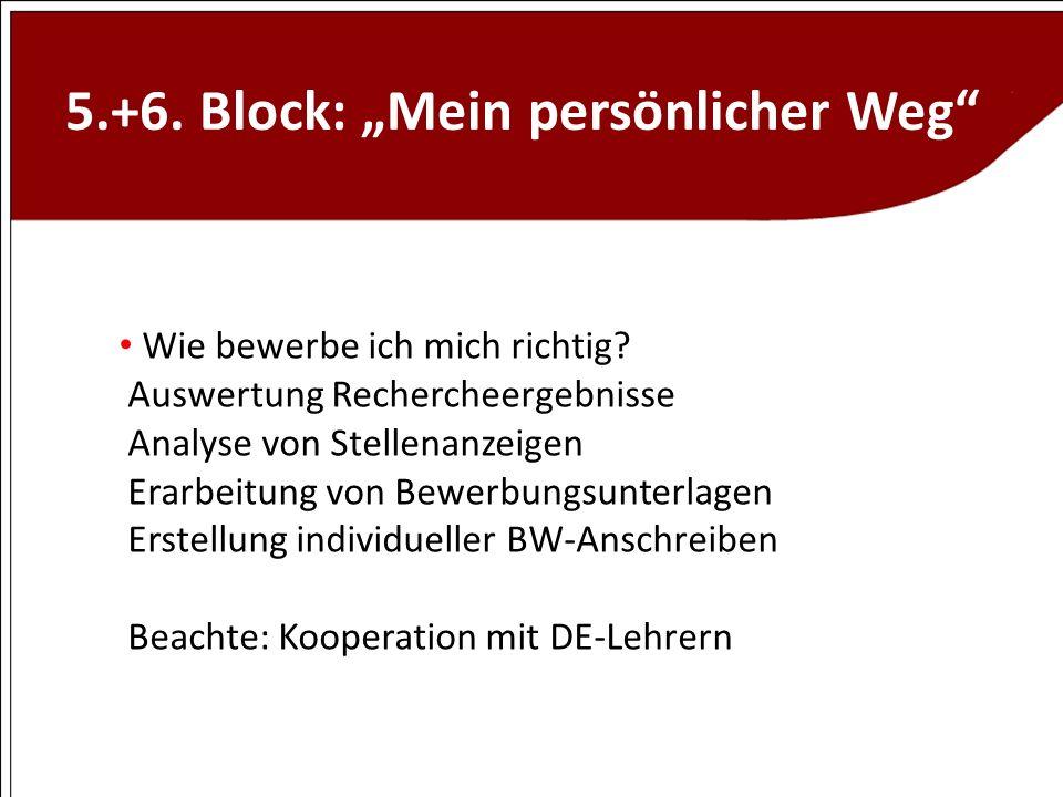 5.+6. Block: Mein persönlicher Weg Wie bewerbe ich mich richtig? Auswertung Rechercheergebnisse Analyse von Stellenanzeigen Erarbeitung von Bewerbungs