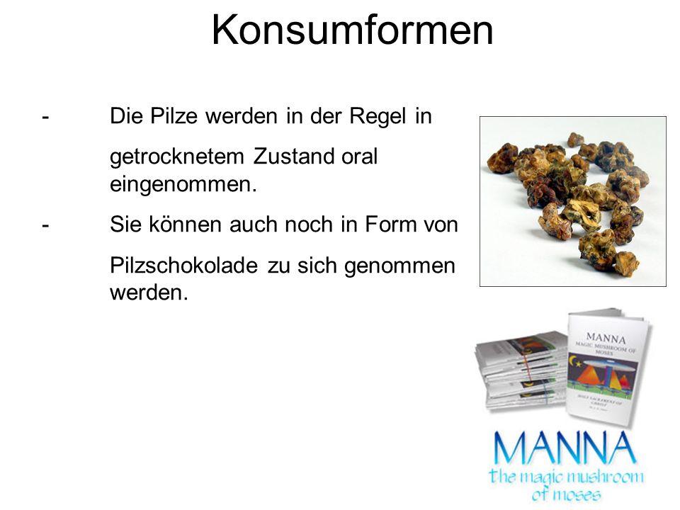 Konsumformen -Die Pilze werden in der Regel in getrocknetem Zustand oral eingenommen.