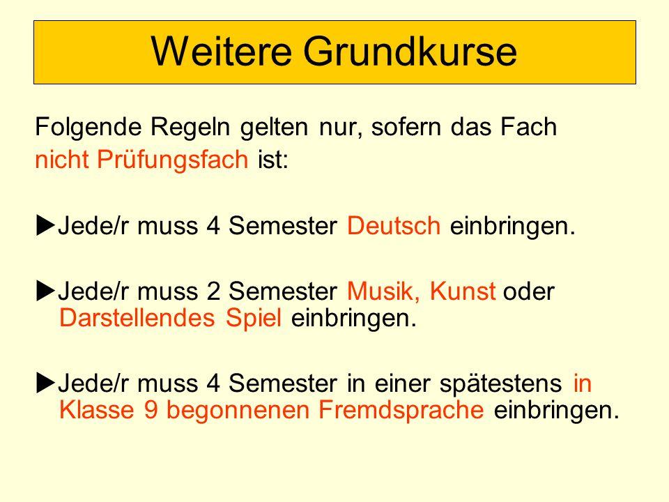 Weitere Grundkurse Folgende Regeln gelten nur, sofern das Fach nicht Prüfungsfach ist: Jede/r muss 4 Semester Deutsch einbringen. Jede/r muss 2 Semest
