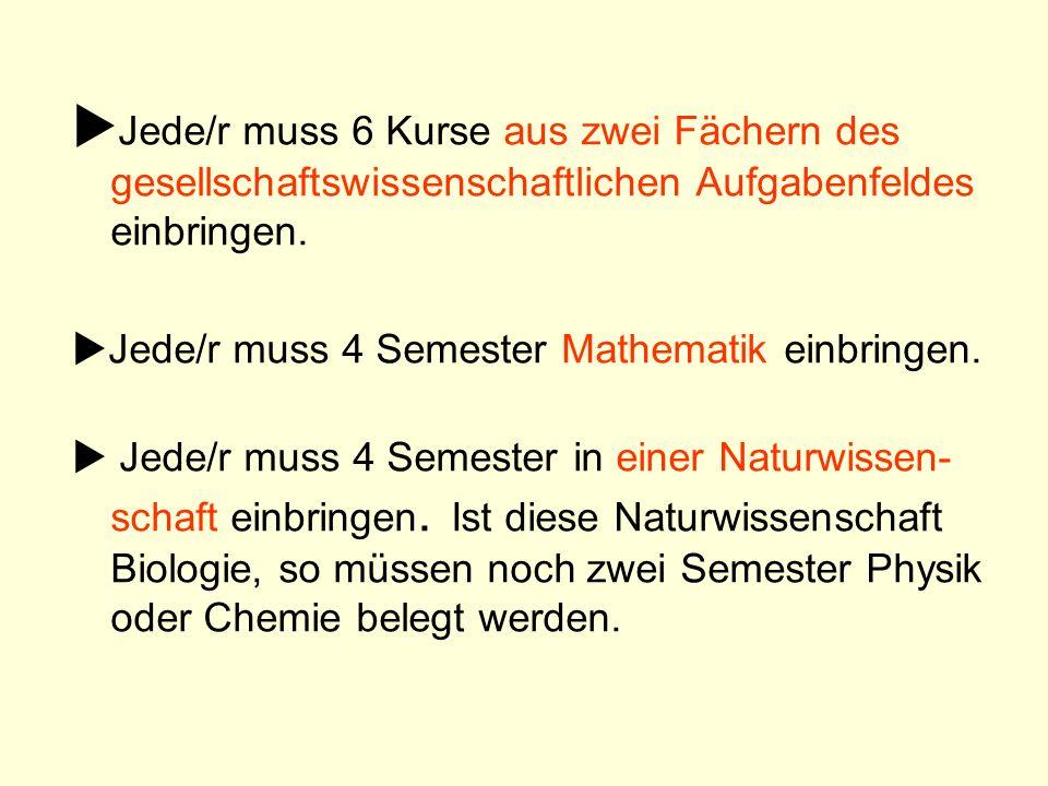 Jede/r muss 6 Kurse aus zwei Fächern des gesellschaftswissenschaftlichen Aufgabenfeldes einbringen. Jede/r muss 4 Semester Mathematik einbringen. Jede