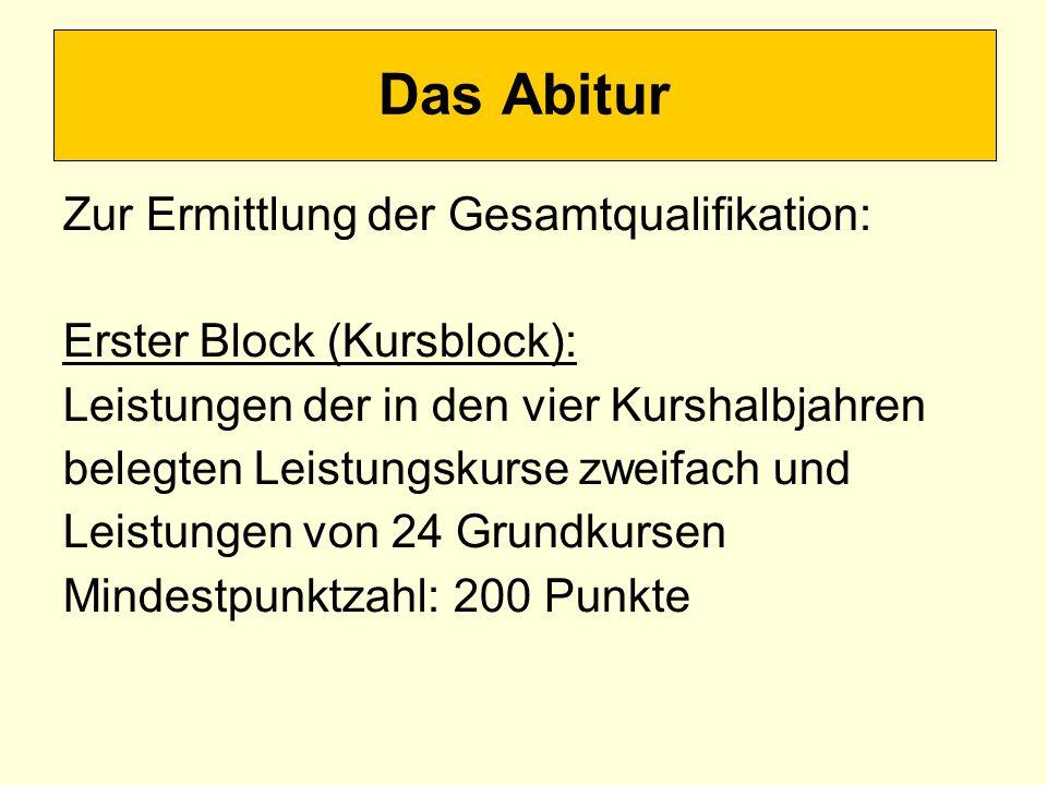 Das Abitur Zur Ermittlung der Gesamtqualifikation: Erster Block (Kursblock): Leistungen der in den vier Kurshalbjahren belegten Leistungskurse zweifac