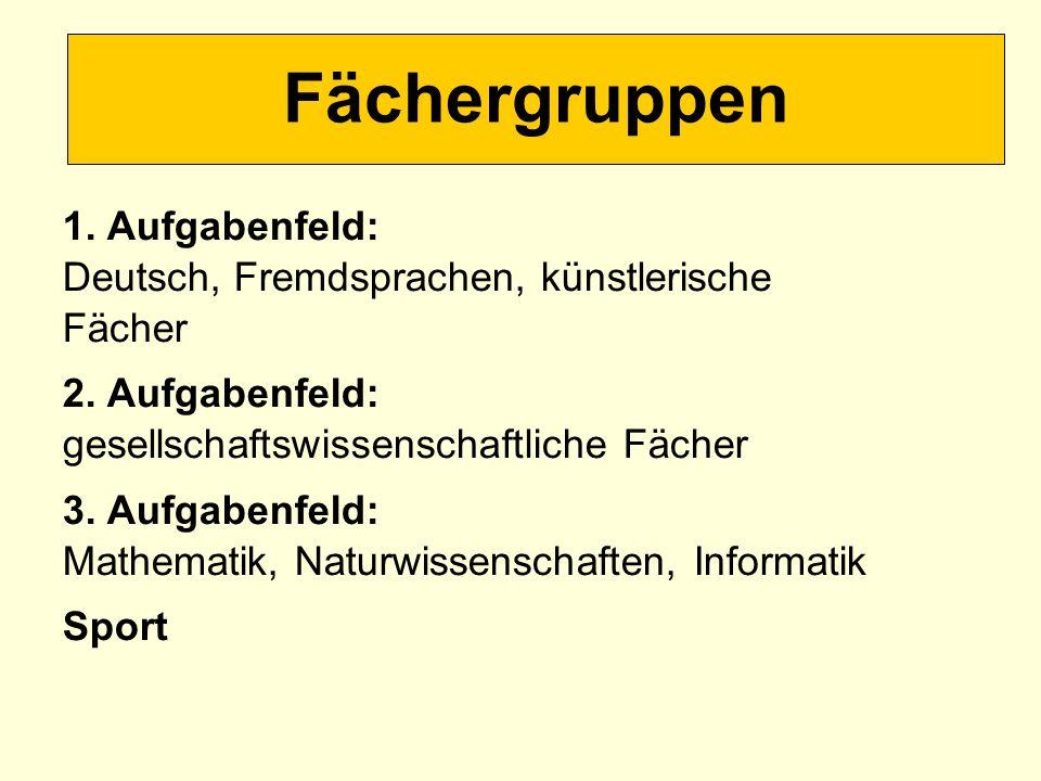 1. Aufgabenfeld: Deutsch, Fremdsprachen, künstlerische Fächer 2. Aufgabenfeld: gesellschaftswissenschaftliche Fächer 3. Aufgabenfeld: Mathematik, Natu