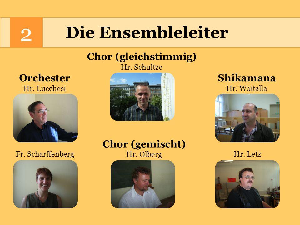 2 Der Stundenumfang 1.Orchester 2/4 Std.wöchentlich 2.Chor (gleichstimmig) 4 Std.