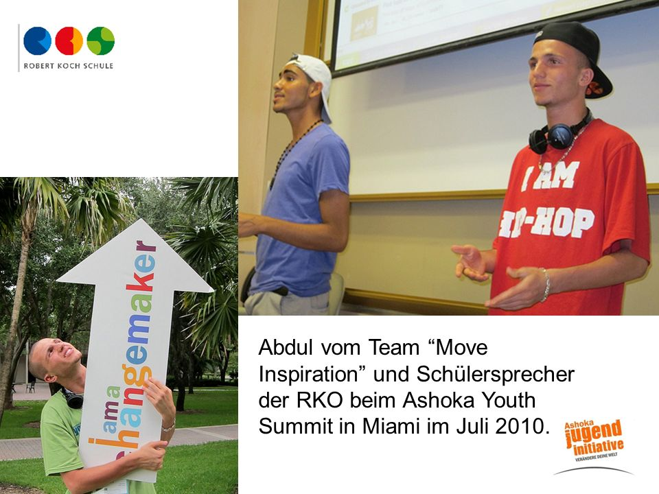 Abdul Abdul vom Team Move Inspiration und Schülersprecher der RKO beim Ashoka Youth Summit in Miami im Juli 2010.
