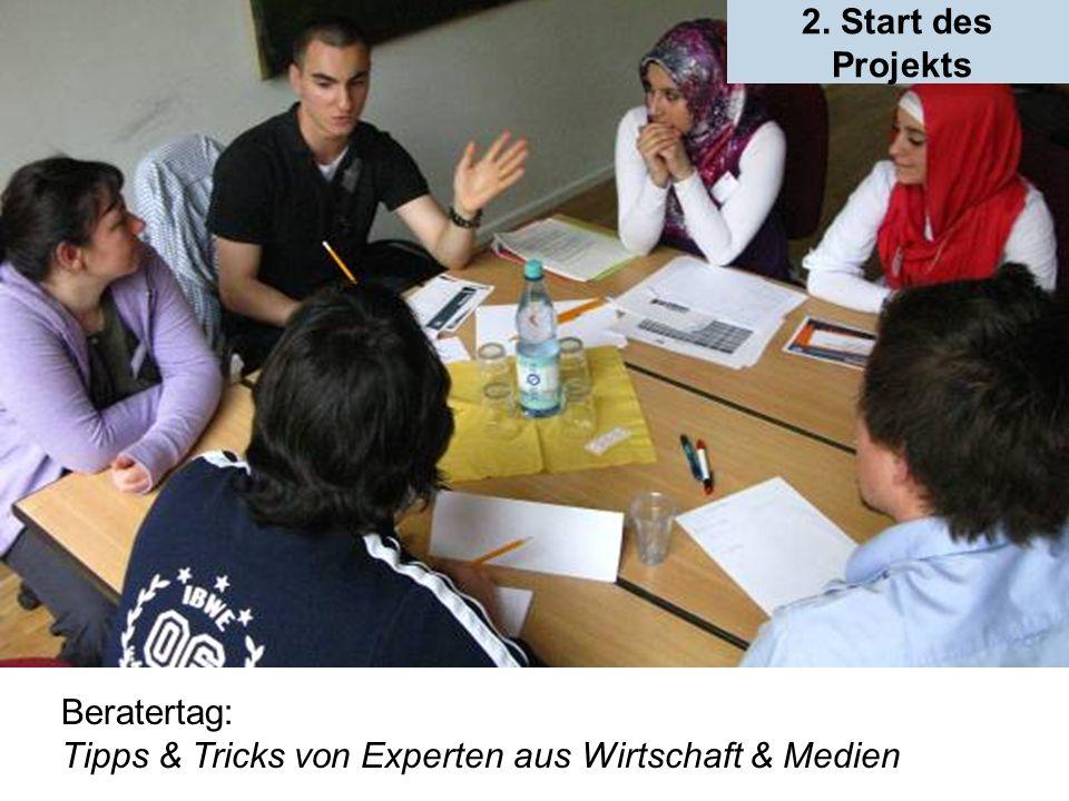 Beratertag: Tipps & Tricks von Experten aus Wirtschaft & Medien 2. Start des Projekts