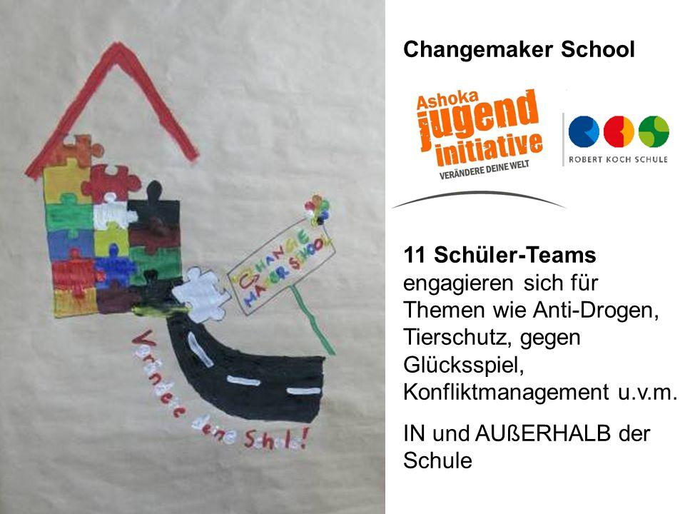 Changemaker School 11 Schüler-Teams engagieren sich für Themen wie Anti-Drogen, Tierschutz, gegen Glücksspiel, Konfliktmanagement u.v.m. IN und AUßERH