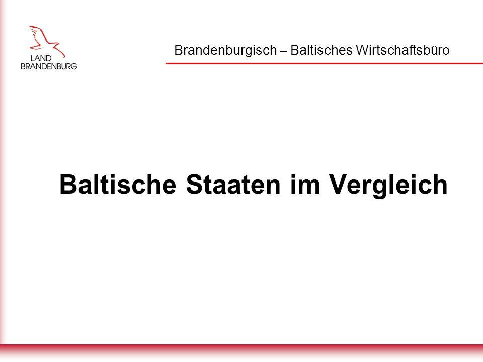 Brandenburgisch – Baltisches Wirtschaftsbüro Einwohnerzahl im Baltikum Estland1.37 Mio.