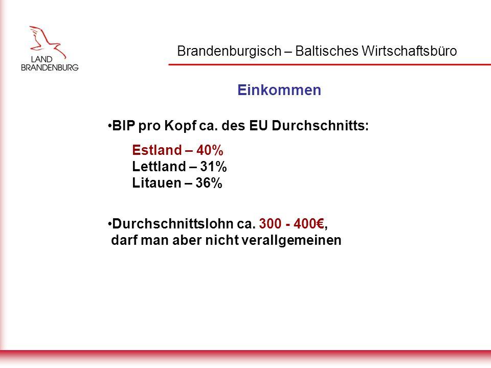 Brandenburgisch – Baltisches Wirtschaftsbüro Einkommen BIP pro Kopf ca.