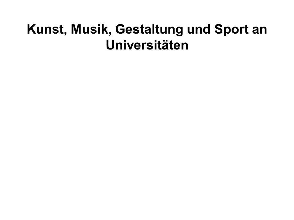 Absolventen / Wissenschaftler- stelle Drittmittel in TDM / Wissenschaftlerstelle Lehrerfolg Forschungserfolg Kunst, Musik, Gestaltung und Sport an Universitäten
