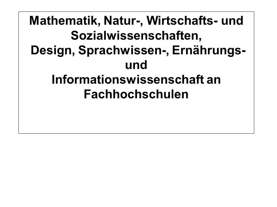 Auslastung Mittel 1999-2001 Normstudienplätze WS 2001/2002 Mathematik, Natur-, Wirtschafts- und Sozialwissenschaften, Design, Sprachwissen-, Ernährung