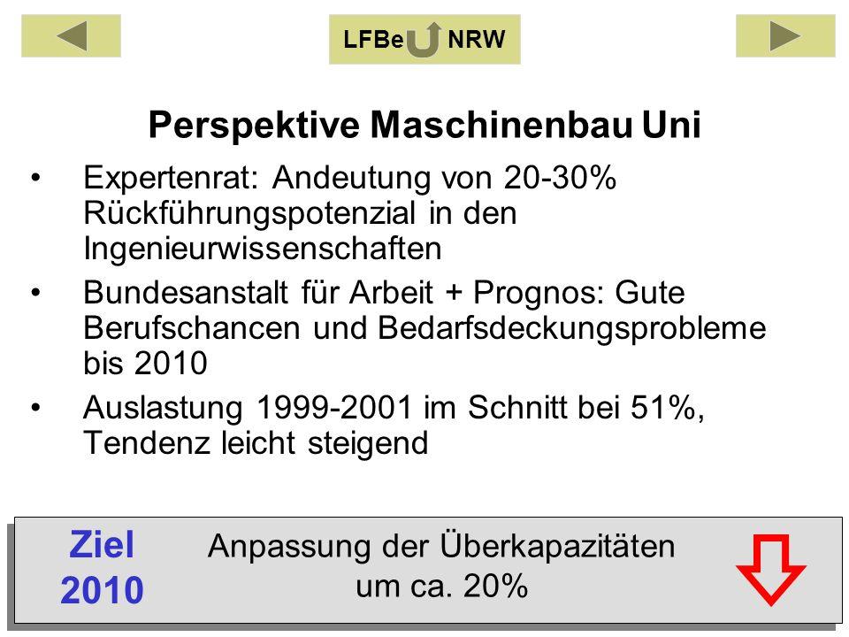 Perspektive Maschinenbau Uni Expertenrat: Andeutung von 20-30% Rückführungspotenzial in den Ingenieurwissenschaften Bundesanstalt für Arbeit + Prognos: Gute Berufschancen und Bedarfsdeckungsprobleme bis 2010 Auslastung 1999-2001 im Schnitt bei 51%, Tendenz leicht steigend LFBe NRW Anpassung der Überkapazitäten um ca.