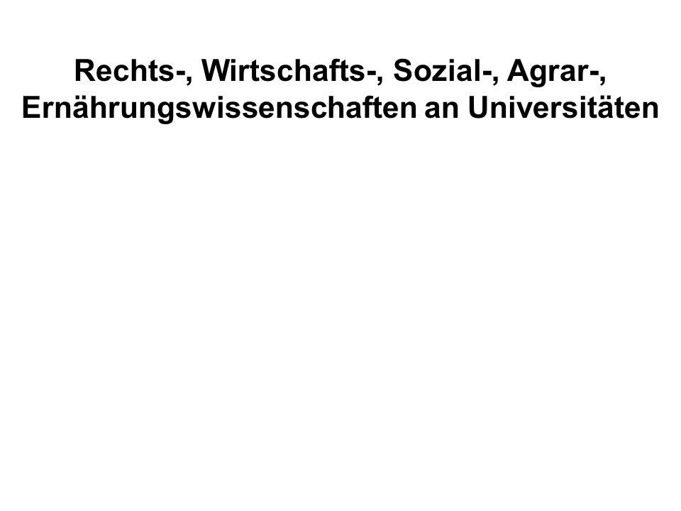 Rechts-, Wirtschafts-, Sozial-, Agrar-, Ernährungswissenschaften an Universitäten