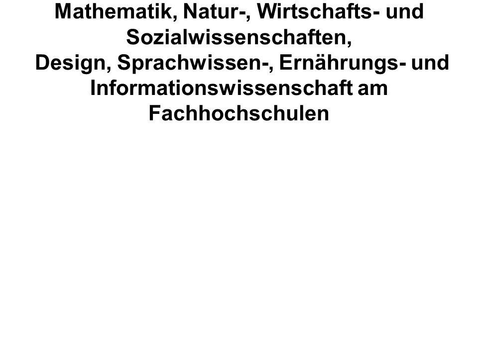 Mathematik, Natur-, Wirtschafts- und Sozialwissenschaften, Design, Sprachwissen-, Ernährungs- und Informationswissenschaft am Fachhochschulen