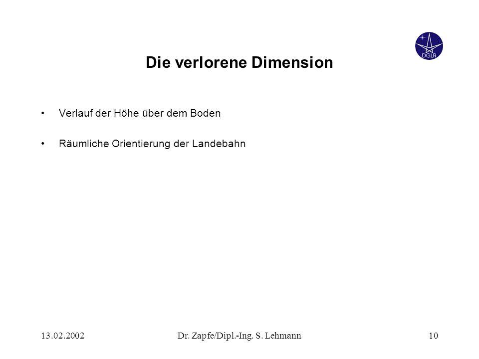 13.02.2002Dr. Zapfe/Dipl.-Ing. S. Lehmann10 Die verlorene Dimension Verlauf der Höhe über dem Boden Räumliche Orientierung der Landebahn