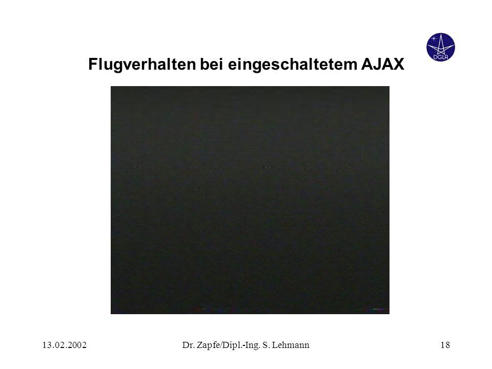13.02.2002Dr. Zapfe/Dipl.-Ing. S. Lehmann18 Flugverhalten bei eingeschaltetem AJAX