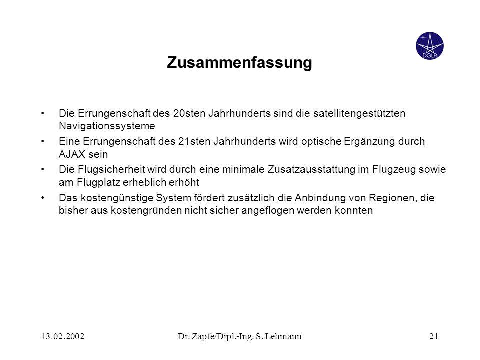 13.02.2002Dr. Zapfe/Dipl.-Ing. S. Lehmann21 Zusammenfassung Die Errungenschaft des 20sten Jahrhunderts sind die satellitengestützten Navigationssystem