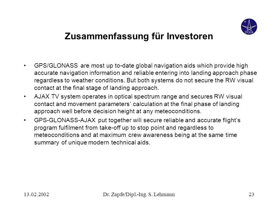 13.02.2002Dr. Zapfe/Dipl.-Ing. S. Lehmann23 Zusammenfassung für Investoren GPS/GLONASS are most up to-date global navigation aids which provide high a