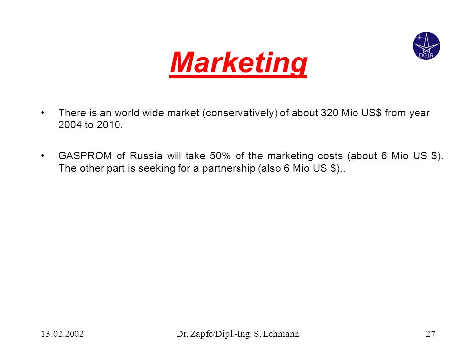 13.02.2002Dr. Zapfe/Dipl.-Ing. S. Lehmann27 Marketing There is an world wide market (conservatively) of about 320 Mio US$ from year 2004 to 2010. GASP