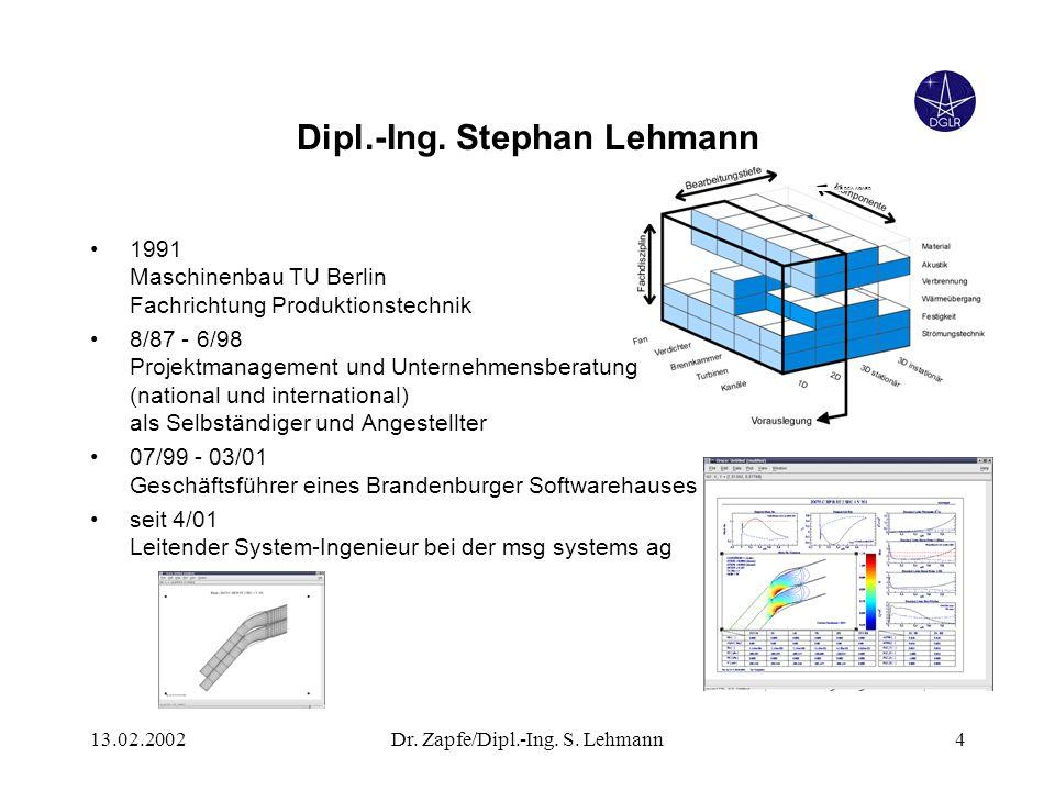 13.02.2002Dr. Zapfe/Dipl.-Ing. S. Lehmann4 Dipl.-Ing. Stephan Lehmann 1991 Maschinenbau TU Berlin Fachrichtung Produktionstechnik 8/87 - 6/98 Projektm