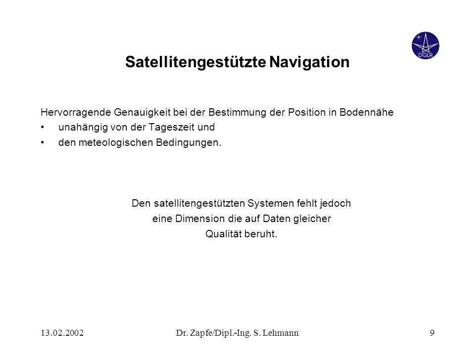 13.02.2002Dr. Zapfe/Dipl.-Ing. S. Lehmann9 Satellitengestützte Navigation Hervorragende Genauigkeit bei der Bestimmung der Position in Bodennähe unahä