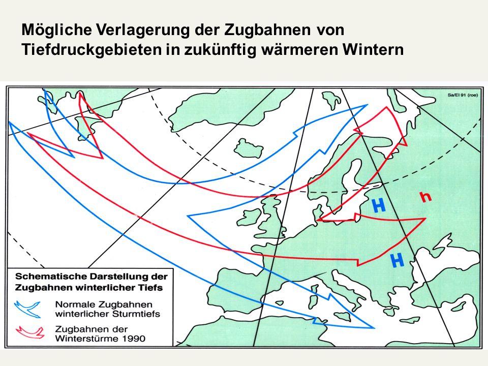 Mögliche Verlagerung der Zugbahnen von Tiefdruckgebieten in zukünftig wärmeren Wintern