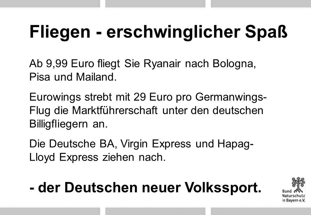 Flughäfen in Bayern Nürnberg München Hof Bayreuth (Charterbetrieb eingestellt seit 10/2001) Augsburg In Planung: Ausbau aller bestehenden Flughäfen und Neubau von u.a.