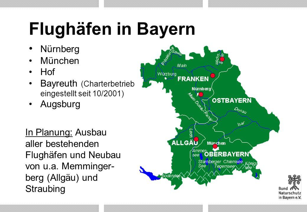 Flughäfen in Bayern Nürnberg München Hof Bayreuth (Charterbetrieb eingestellt seit 10/2001) Augsburg In Planung: Ausbau aller bestehenden Flughäfen un