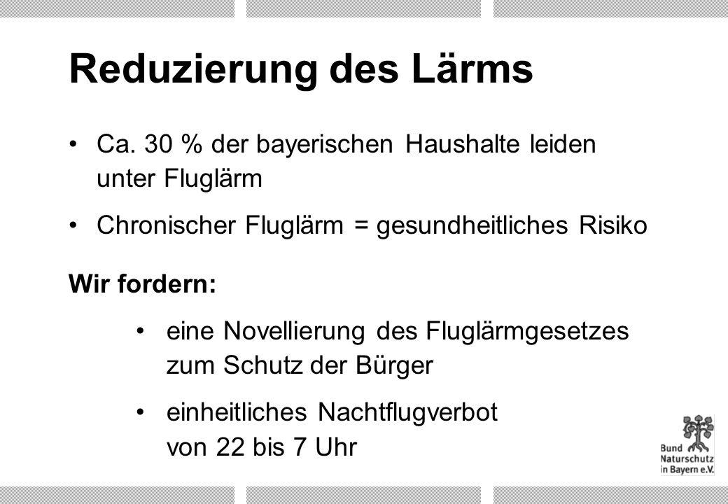 Reduzierung des Lärms Ca. 30 % der bayerischen Haushalte leiden unter Fluglärm Chronischer Fluglärm = gesundheitliches Risiko Wir fordern: eine Novell
