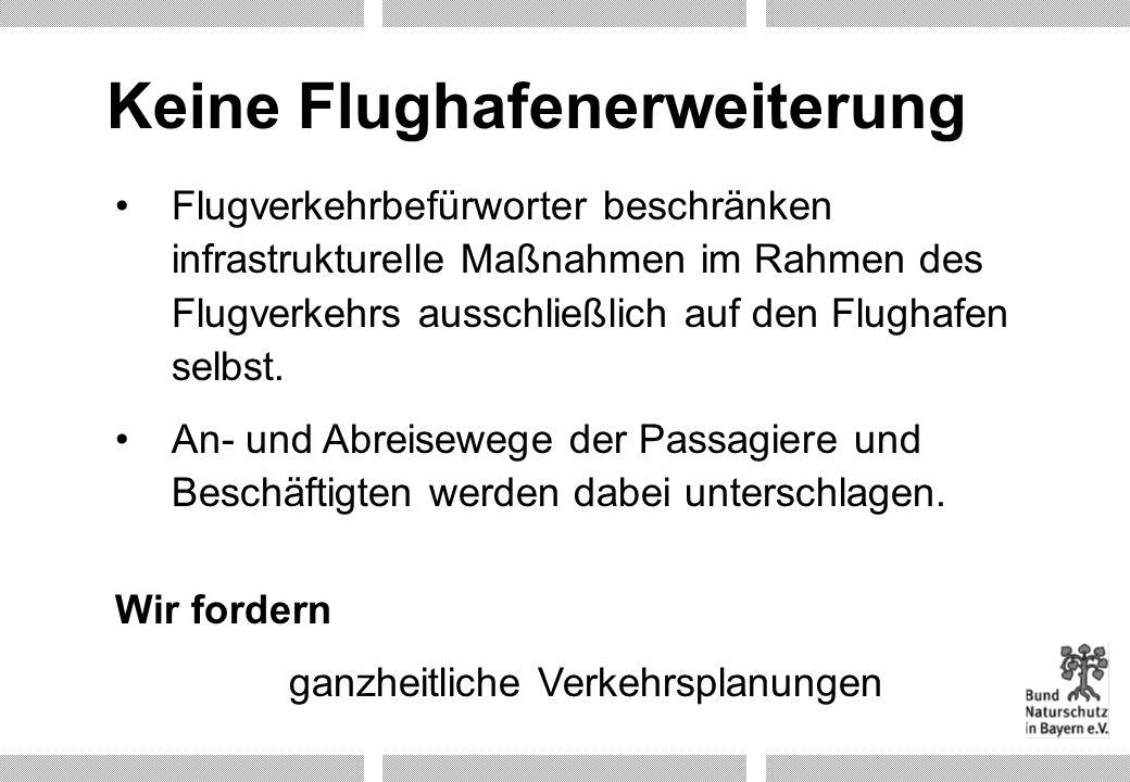 Keine Flughafenerweiterung Flugverkehrbefürworter beschränken infrastrukturelle Maßnahmen im Rahmen des Flugverkehrs ausschließlich auf den Flughafen