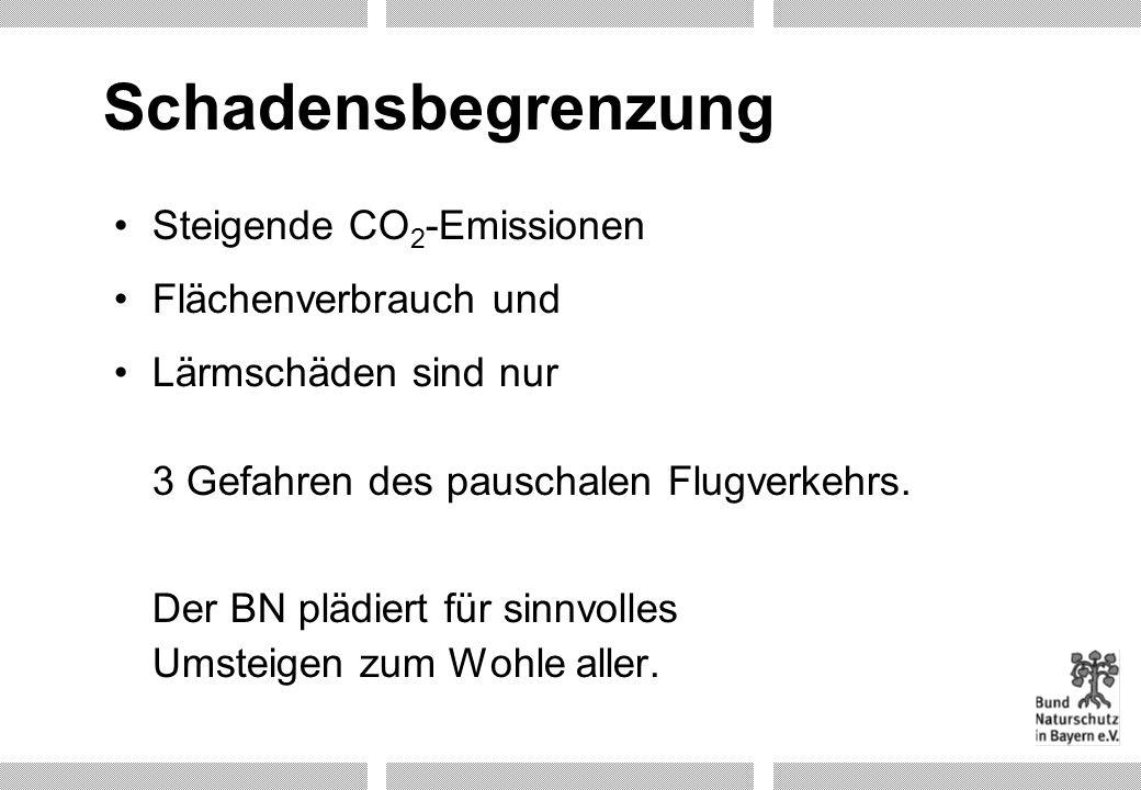 Schadensbegrenzung Steigende CO 2 -Emissionen Flächenverbrauch und Lärmschäden sind nur 3 Gefahren des pauschalen Flugverkehrs. Der BN plädiert für si