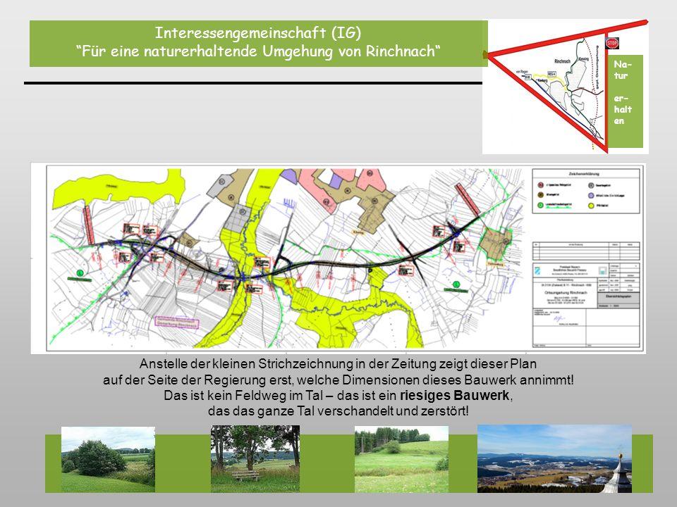 Auf diesem Foto und auf der Plan-Skizze ist die Variante der kurzen, einfachen und wesentlich günstigeren Umgehung im Westen von Rinchnach (bei der Herrenmühle) grob angedeutet.