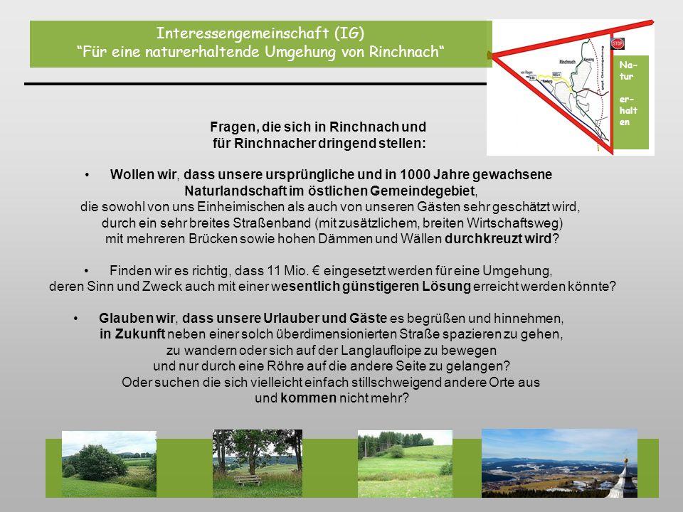 Quer durch das ganze Foto (zwischen Gehmannsberg und Rinchnach) würde sich das bis zu 50 m breite Straßenband (Straße und Neben-Wirtschaftsweg) der neuen Umgehungsstraße erstrecken.