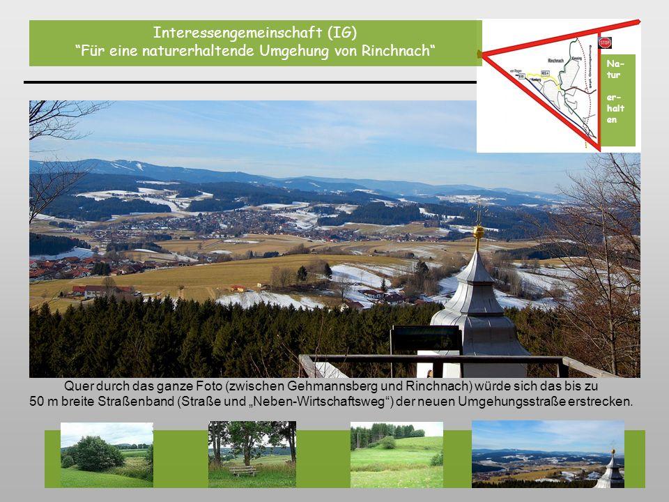 Quer durch das ganze Foto (zwischen Gehmannsberg und Rinchnach) würde sich das bis zu 50 m breite Straßenband (Straße und Neben-Wirtschaftsweg) der ne