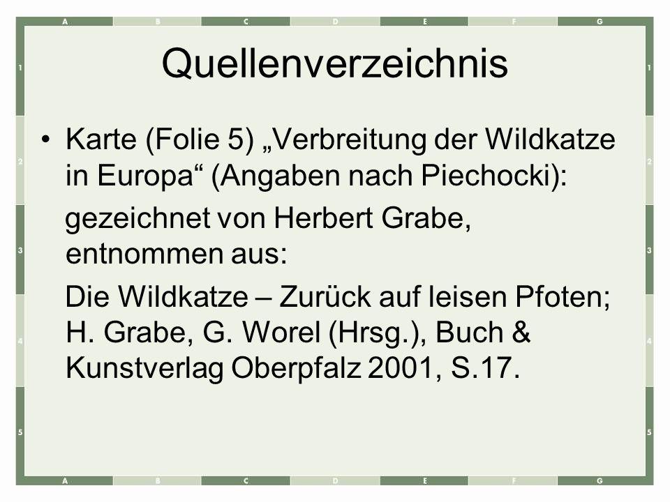 Quellenverzeichnis Karte (Folie 5) Verbreitung der Wildkatze in Europa (Angaben nach Piechocki): gezeichnet von Herbert Grabe, entnommen aus: Die Wild