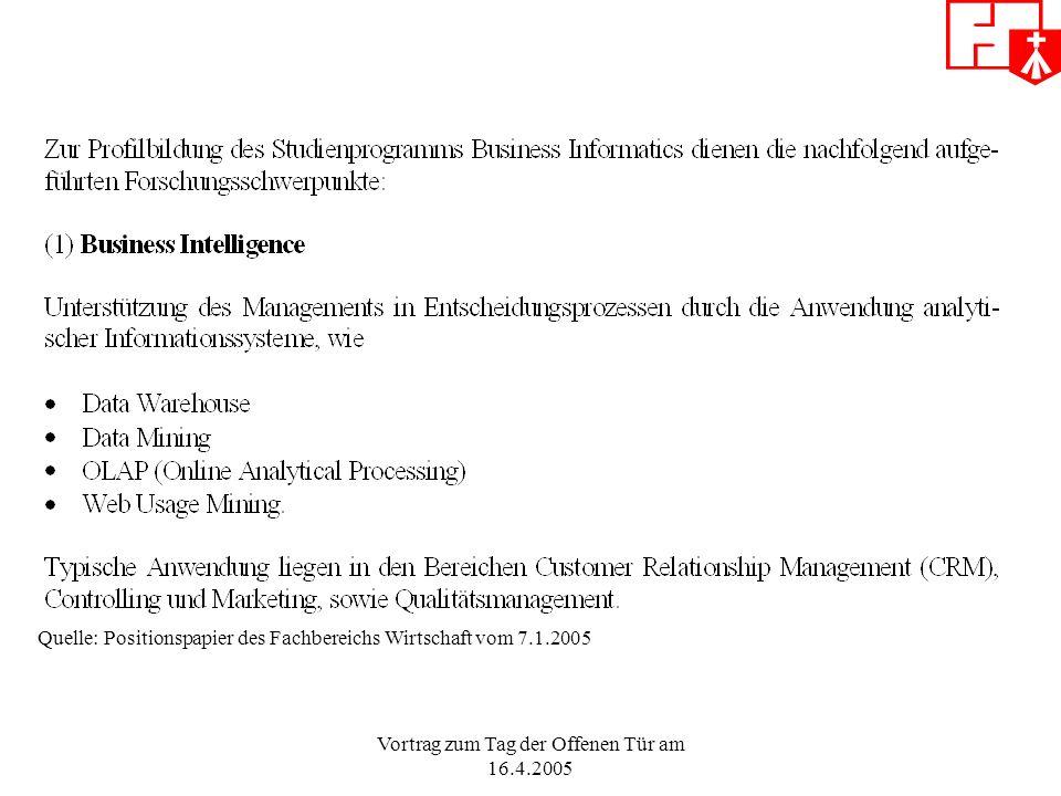 Vortrag zum Tag der Offenen Tür am 16.4.2005 Quelle: Positionspapier des Fachbereichs Wirtschaft vom 7.1.2005