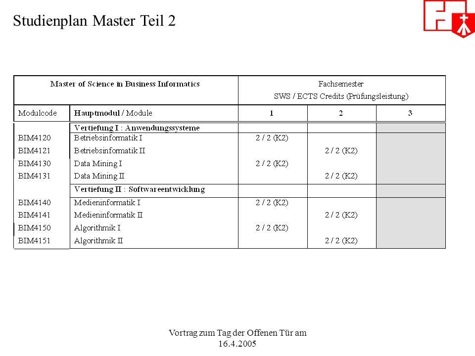 Vortrag zum Tag der Offenen Tür am 16.4.2005 Studienplan Master Teil 2