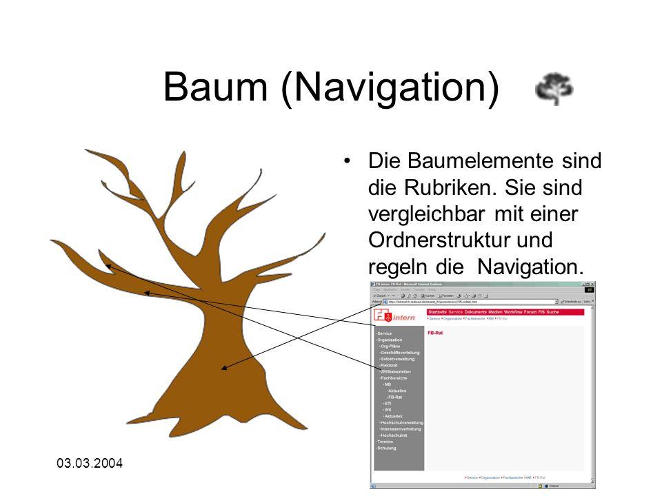 03.03.2004 Baum (Navigation) Die Baumelemente sind die Rubriken. Sie sind vergleichbar mit einer Ordnerstruktur und regeln die Navigation.