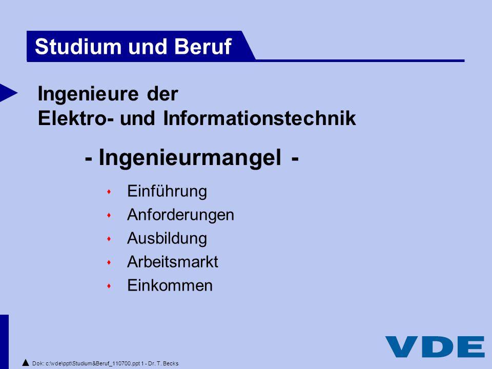 Dok: c:\vde\ppt\Studium&Beruf_110700.ppt 1 - Dr.T.