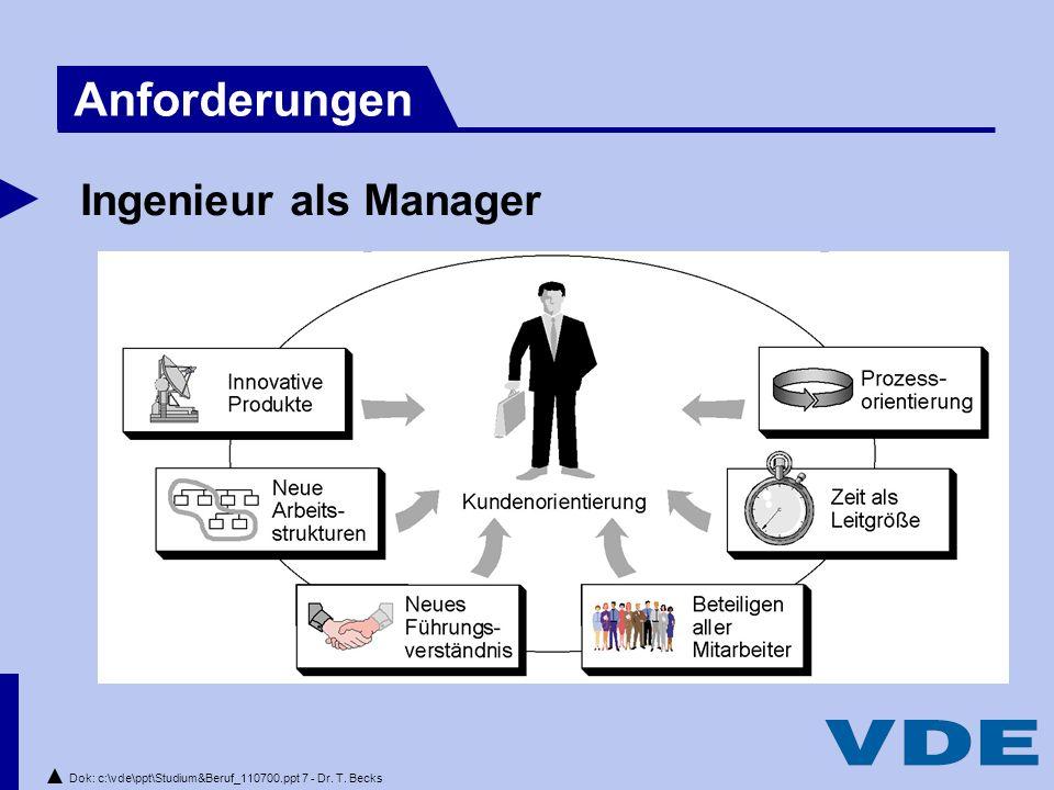 Dok: c:\vde\ppt\Studium&Beruf_110700.ppt 7 - Dr. T. Becks Ingenieur als Manager Anforderungen