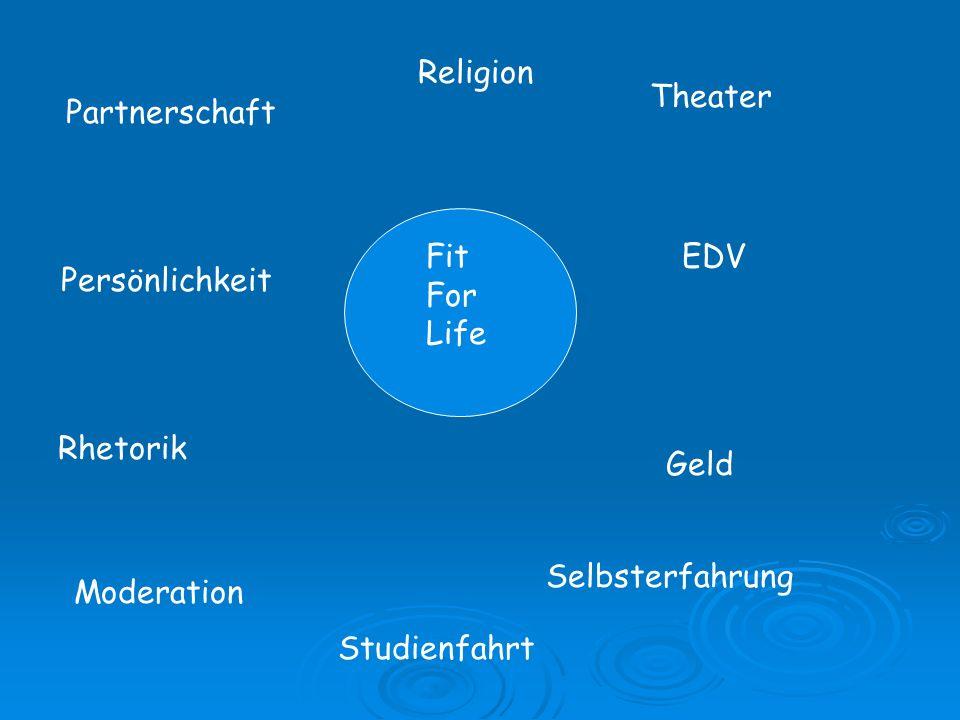 Religion Fit For Life Theater Geld Selbsterfahrung Studienfahrt Moderation EDV Partnerschaft Persönlichkeit Rhetorik