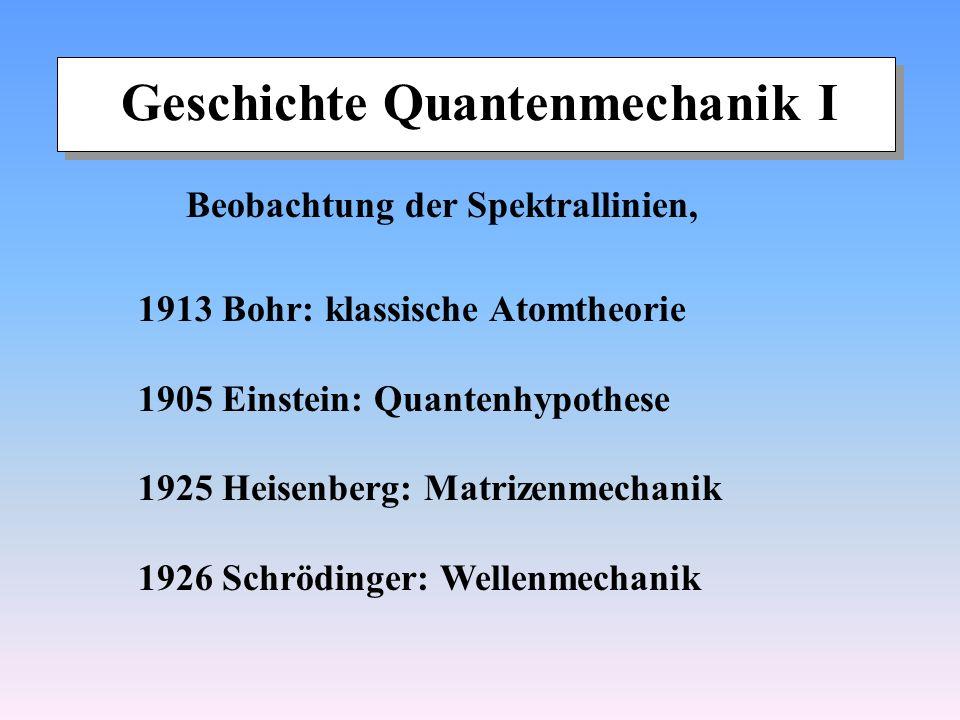 Geschichte Quantenmechanik I Beobachtung der Spektrallinien, 1913 Bohr: klassische Atomtheorie 1905 Einstein: Quantenhypothese 1925 Heisenberg: Matriz