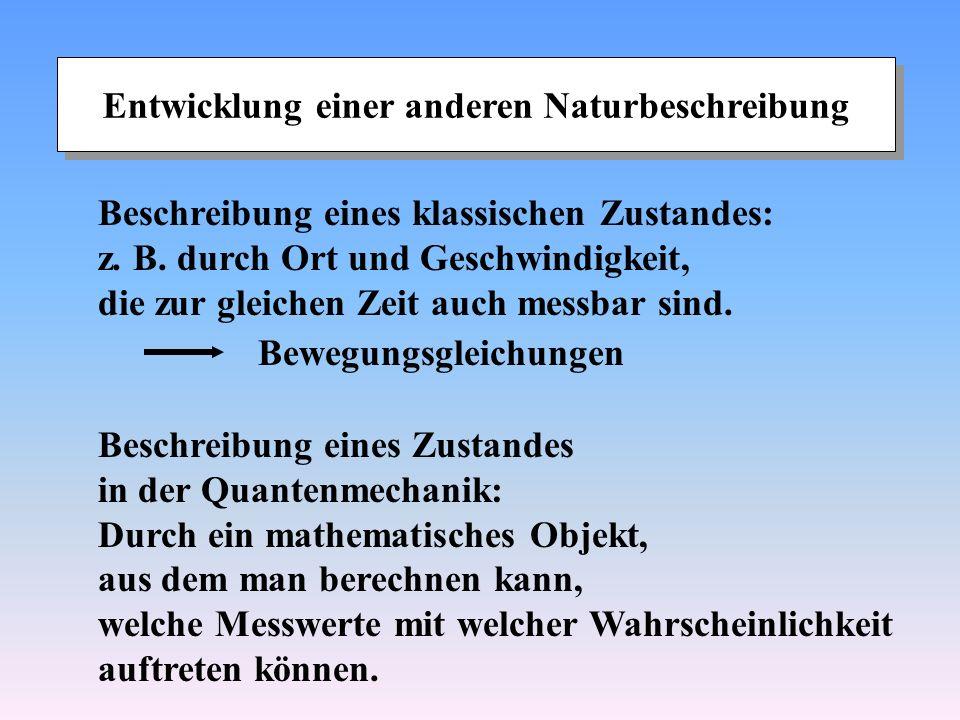 Entwicklung einer anderen Naturbeschreibung Beschreibung eines klassischen Zustandes: z. B. durch Ort und Geschwindigkeit, die zur gleichen Zeit auch