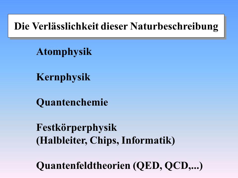 Die Verlässlichkeit dieser Naturbeschreibung Atomphysik Kernphysik Quantenchemie Festkörperphysik (Halbleiter, Chips, Informatik) Quantenfeldtheorien