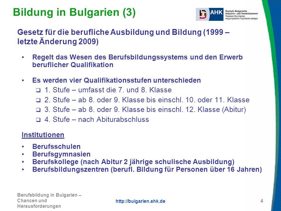 http://bulgarien.ahk.de Berufsbildung in Bulgarien – Chancen und Herausforderungen 5 Aktuell: Diskussion eines neuen Gesetzesentwurfs für das Ausbildungssystem Vorgesehene Änderungen: Hauptschulbildung bis zur 7.