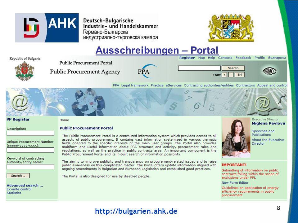 http://bulgarien.ahk.de Ausschreibungen – Portal 8