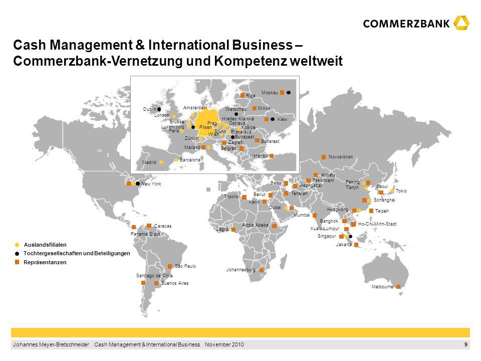 8 Johannes Meyer-Bretschneider Cash Management & International Business November 2010 1.Ausgangssituation1 2.International Finance Corporation3 3.Glob